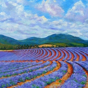 "(CreativeWork) ""LAVENDER FIELDS"" by Daniela Selir. oil-painting. Shop online at Bluethumb."