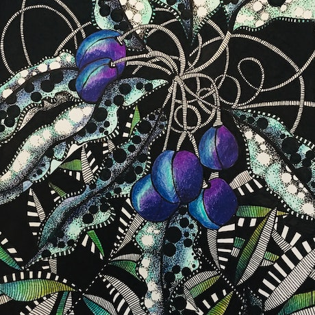 (CreativeWork) Purple Berries by Tania Daymond. Drawings. Shop online at Bluethumb.