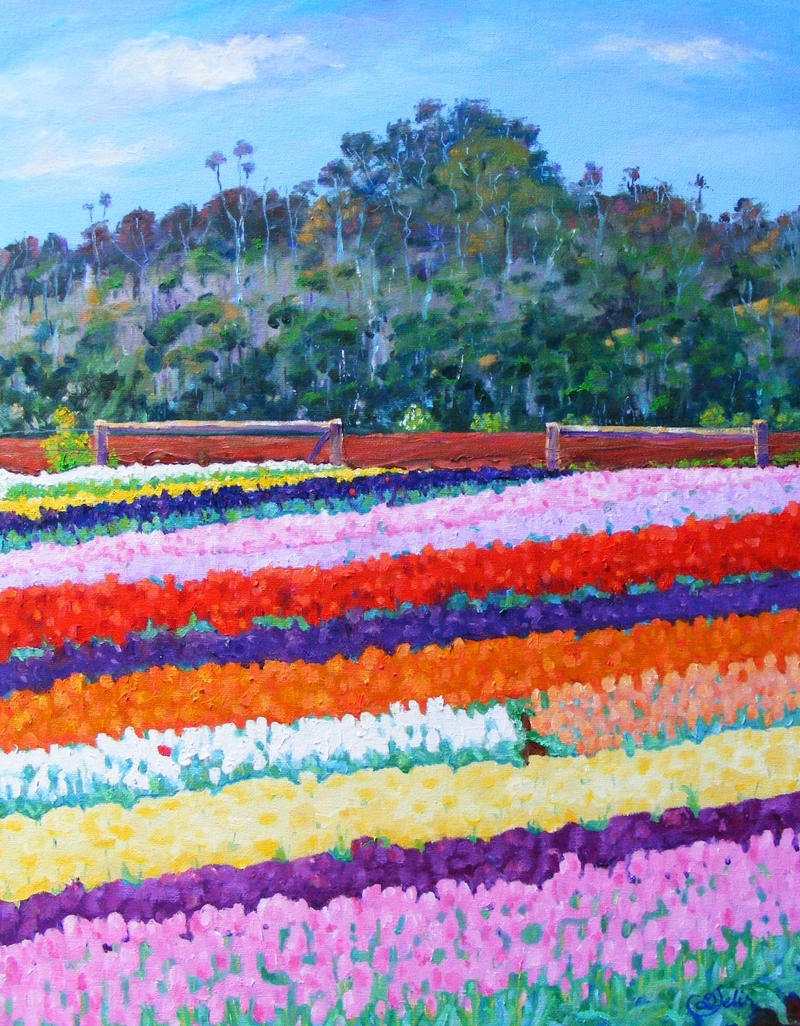 """(CreativeWork) """"BUSH AND TULIPS"""" by Daniela Selir. oil-painting. Shop online at Bluethumb."""