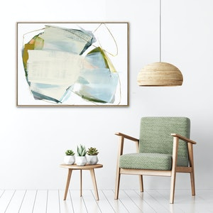 (CreativeWork) Spirit - large blue grey mustard green abstract by Stephanie Laine. acrylic-painting. Shop online at Bluethumb.