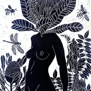 (CreativeWork) Penny Protea Lino print - Printed in Prussian Blue - Framed Ed. 12 of 150 by Marinka Parnham. #<Filter:0x00007fbb6d24a8f8>. Shop online at Bluethumb.