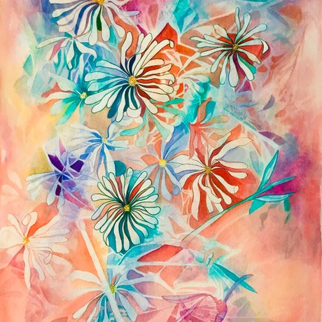 (CreativeWork) Spring Stars by Lucinda Leveille. Watercolour Paint. Shop online at Bluethumb.