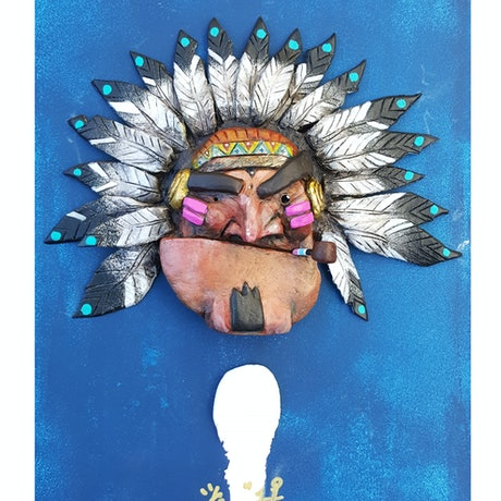 (CreativeWork) Indian Chief by Kenneth Chu. Acrylic Paint. Shop online at Bluethumb.