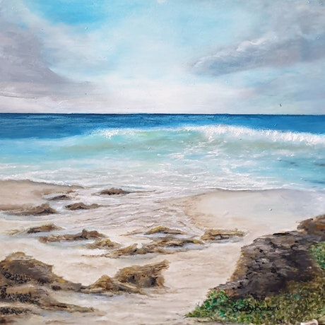 (CreativeWork) Mussels on the rocks by Sandy Barbara. Oil Paint. Shop online at Bluethumb.