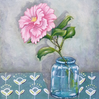 (CreativeWork) Oh Camellia by Rosemary Scott. acrylic-painting. Shop online at Bluethumb.