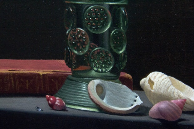 (CreativeWork) Glass Roemer with Shells by Michael Memete. Oil Paint. Shop online at Bluethumb.