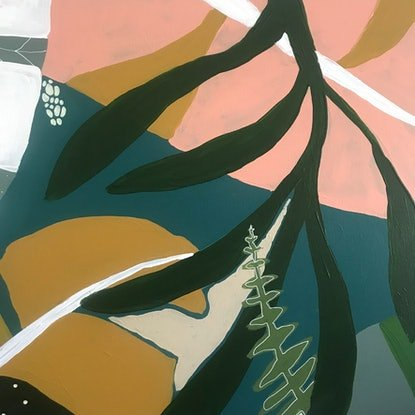 (CreativeWork) Sunny Palms by Angelika Pacek. Acrylic Paint. Shop online at Bluethumb.