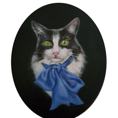 (CreativeWork) Oreo by Julie Strawinski. oil-painting. Shop online at Bluethumb.