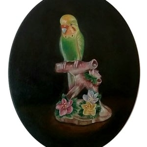 (CreativeWork) China Budgie 2 by Julie Strawinski. oil-painting. Shop online at Bluethumb.