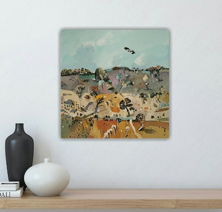 (CreativeWork) Australian abstract landscape  - Rocky Outback #3 by Susan Trudinger. Acrylic Paint. Shop online at Bluethumb.