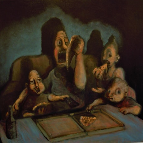 (CreativeWork) The Pizza Eaters by Edgar Alvarez. Oil Paint. Shop online at Bluethumb.