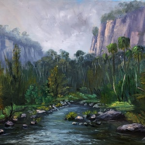 (CreativeWork) Moody morning at Carnarvon gorge, Queensland - oil on loose linen by Christopher Vidal. oil-painting. Shop online at Bluethumb.