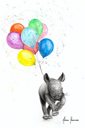 (CreativeWork) The Rhino and The Balloons by Ashvin Harrison. Acrylic Paint. Shop online at Bluethumb.