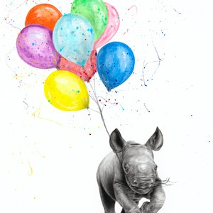 (CreativeWork) The Rhino and The Balloons by Ashvin Harrison. #<Filter:0x00005597d8ecd298>. Shop online at Bluethumb.
