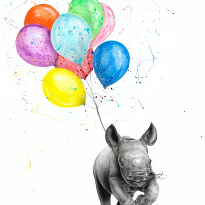 (CreativeWork) The Rhino and The Balloons by Ashvin Harrison. acrylic-painting. Shop online at Bluethumb.