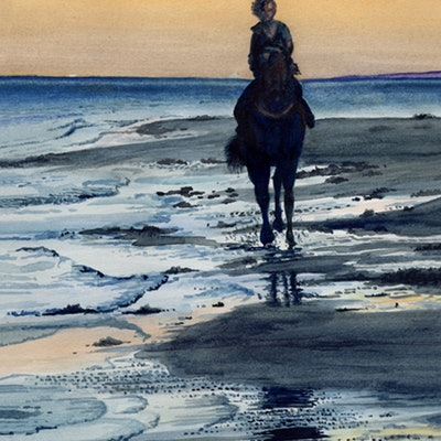 (CreativeWork) Daybreak - Beach  Sunrise with Horse and Rider by Jillian Crider. watercolour. Shop online at Bluethumb.