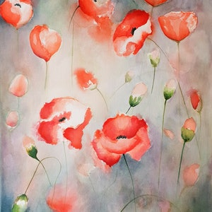 (CreativeWork) Whispering Poppies by Lucinda Leveille. watercolour. Shop online at Bluethumb.