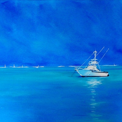 (CreativeWork) Afternoon on the Bay by Julie Hollis. acrylic-painting. Shop online at Bluethumb.