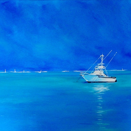 (CreativeWork) Afternoon on the Bay by julie hollis. Acrylic Paint. Shop online at Bluethumb.