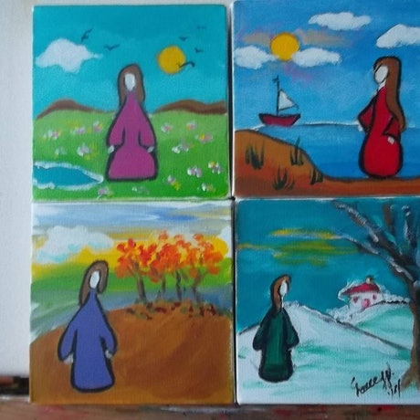 (CreativeWork) four seasons by grace wilkinson. Acrylic Paint. Shop online at Bluethumb.