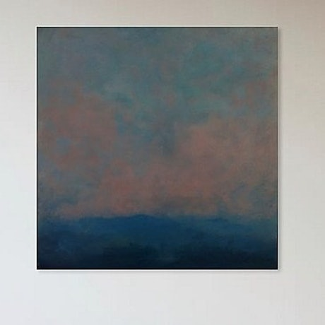 (CreativeWork) Mountain at dusk  by Matt Simmo. Oil Paint. Shop online at Bluethumb.