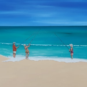 (CreativeWork) Beach fishing Oz style by Andrea Berry. acrylic-painting. Shop online at Bluethumb.