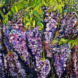 (CreativeWork) WISTERIA  ARBOR 2 by Maureen Finck. oil-painting. Shop online at Bluethumb.