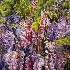 (CreativeWork) WISTERIA ARBOR 1 by Maureen Finck. oil-painting. Shop online at Bluethumb.