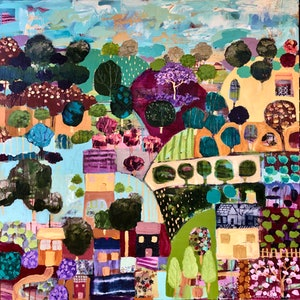 (CreativeWork) Spring Village by Sandra Oost. mixed-media. Shop online at Bluethumb.