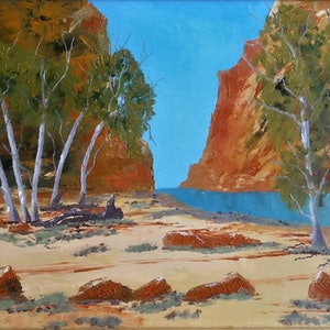 (CreativeWork) Ellery Creek, Alice Springs. by owen jones. oil-painting. Shop online at Bluethumb.