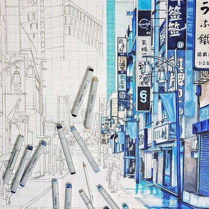 (CreativeWork) Rainy Day in Tokyo by Erin Nicholls. Drawings. Shop online at Bluethumb.