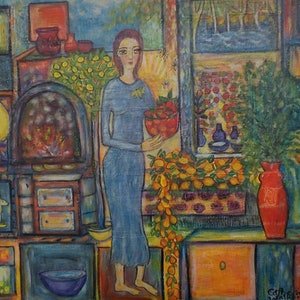 (CreativeWork)  The magic kitchen  by Catherine Walker. acrylic-painting. Shop online at Bluethumb.