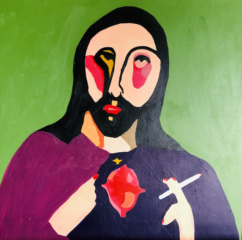 (CreativeWork) Cross my heart and hope to die by Sharon Monagle. Acrylic Paint. Shop online at Bluethumb.