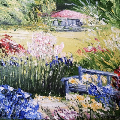 (CreativeWork) Blue bench in a field of flowers by Carmen Iglesias. oil-painting. Shop online at Bluethumb.