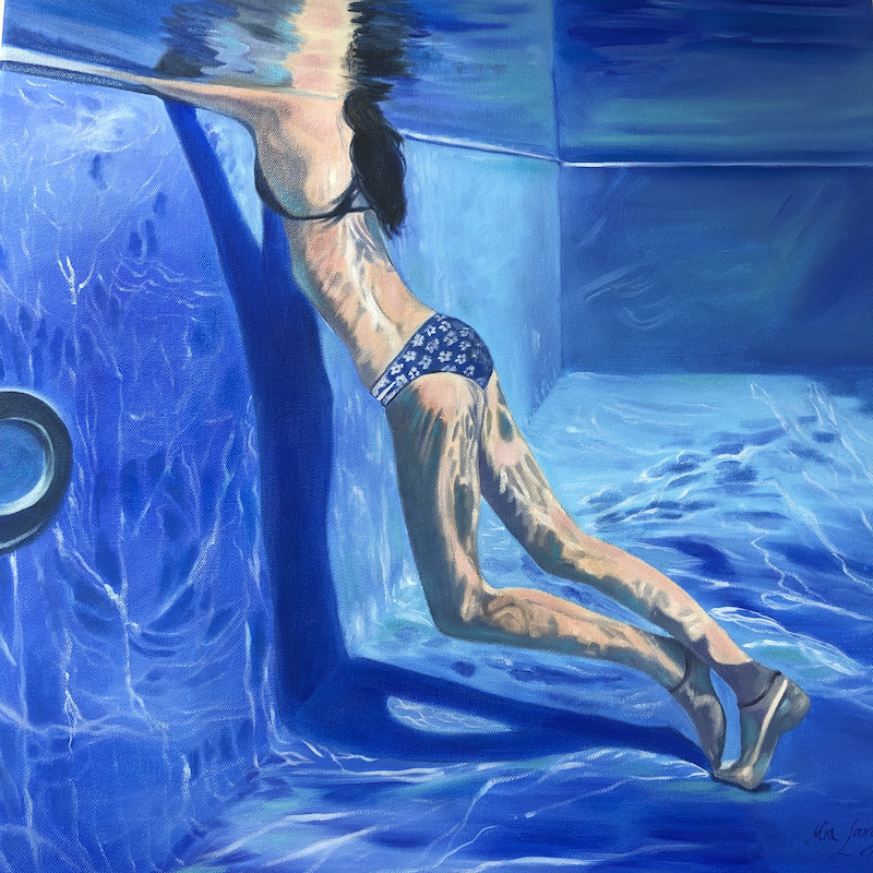 (CreativeWork) In Depth Conversations by Mia Laing. oil-painting. Shop online at Bluethumb.