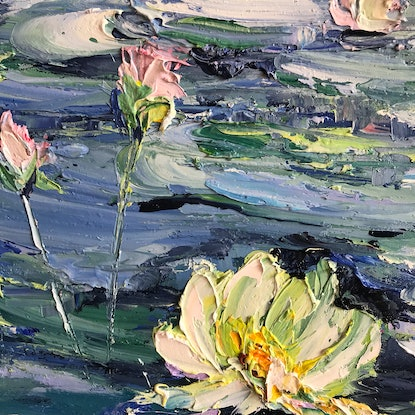 (CreativeWork) Water lilies No 11 by Liliana Gigovic. Oil Paint. Shop online at Bluethumb.