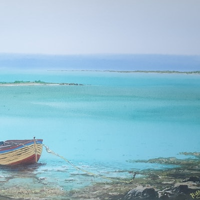 (CreativeWork) Boat Tied at Wappett Creek by Harry Lea. watercolour. Shop online at Bluethumb.