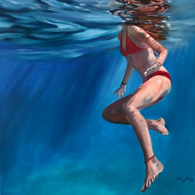 (CreativeWork) Dance With the Ocean by Mia Laing. oil-painting. Shop online at Bluethumb.