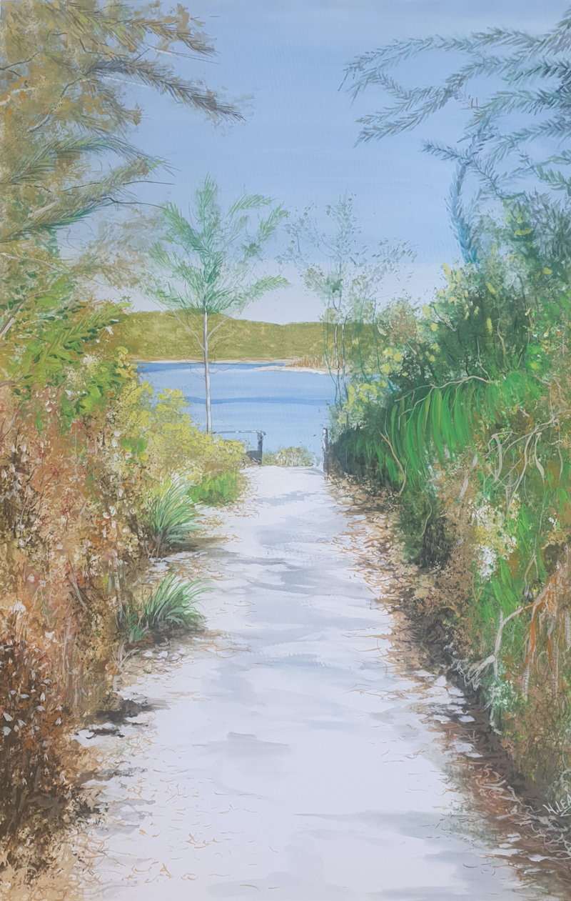 (CreativeWork) Track to Lake McKenzie by Harry Lea. Watercolour Paint. Shop online at Bluethumb.