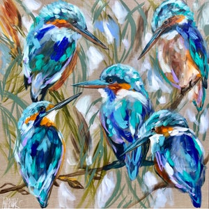 (CreativeWork) Kingfishers and bulrushes  by Amanda Brooks. #<Filter:0x00007fef25d459b0>. Shop online at Bluethumb.
