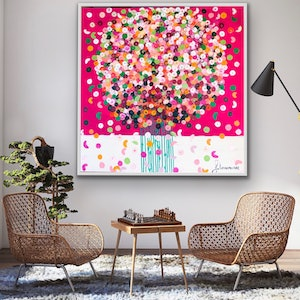 (CreativeWork) Hot pink posie  102x102 framed abstract by Sophie Lawrence. acrylic-painting. Shop online at Bluethumb.