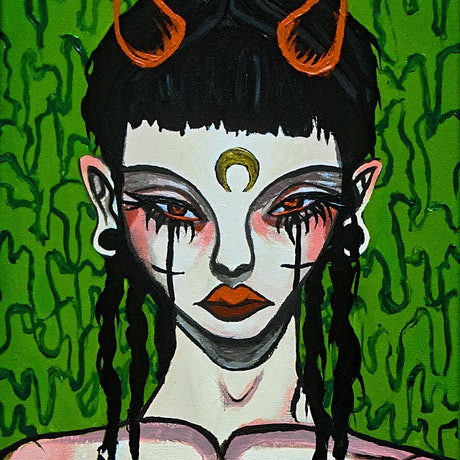 (CreativeWork) Witch by Ava Marinos. Acrylic Paint. Shop online at Bluethumb.