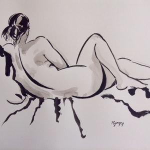 (CreativeWork) Seated Woman by Margaret Gurney. Drawings. Shop online at Bluethumb.