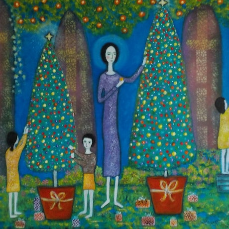 "(CreativeWork) ""A Christmas Painting"" by Catherine Walker. Acrylic Paint. Shop online at Bluethumb."
