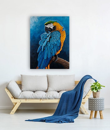 (CreativeWork) Blue and Gold Macaw Portrait by Debra Dickson. Acrylic Paint. Shop online at Bluethumb.