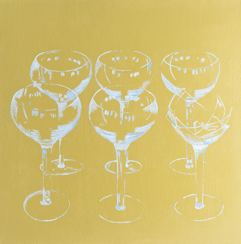 (CreativeWork) Quotidian 9 - Champagne, broken by Steve Munro. Acrylic Paint. Shop online at Bluethumb.