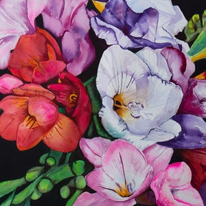 (CreativeWork) Scent of Freesia by Lorraine Brown. watercolour. Shop online at Bluethumb.