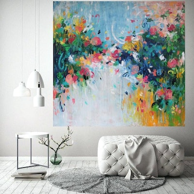 (CreativeWork) Love Blossoms by Belinda Nadwie. oil-painting. Shop online at Bluethumb.