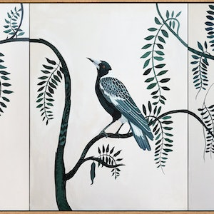 (CreativeWork) Backyard Birds in Emerald by Sally Browne. #<Filter:0x000055fa3ed37780>. Shop online at Bluethumb.