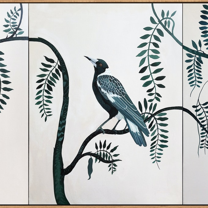 (CreativeWork) Backyard Birds in Emerald by Sally Browne. Acrylic Paint. Shop online at Bluethumb.